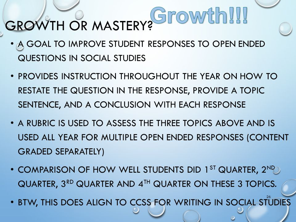 Growth!!! Growth or Mastery