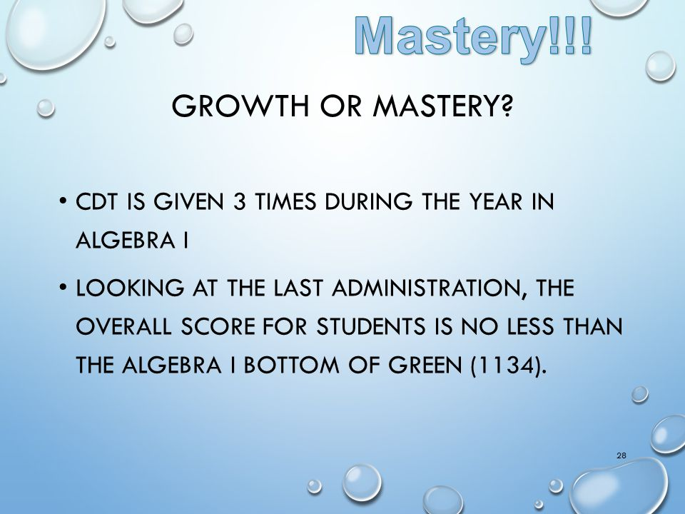 Mastery!!! Growth or Mastery