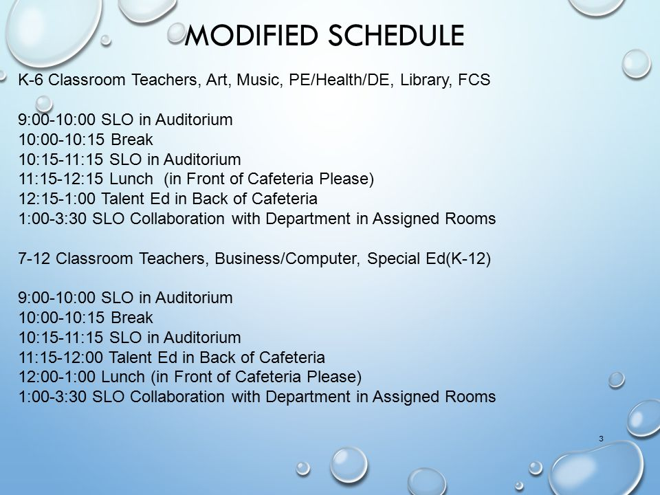 Modified Schedule K-6 Classroom Teachers, Art, Music, PE/Health/DE, Library, FCS. 9:00-10:00 SLO in Auditorium.