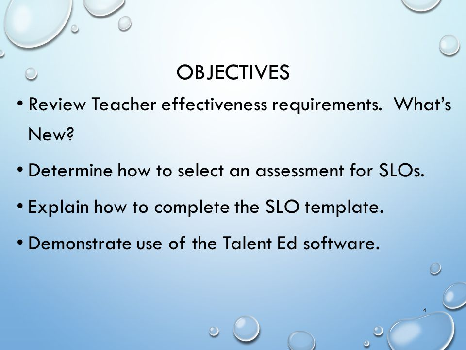 Objectives Review Teacher effectiveness requirements. What's New