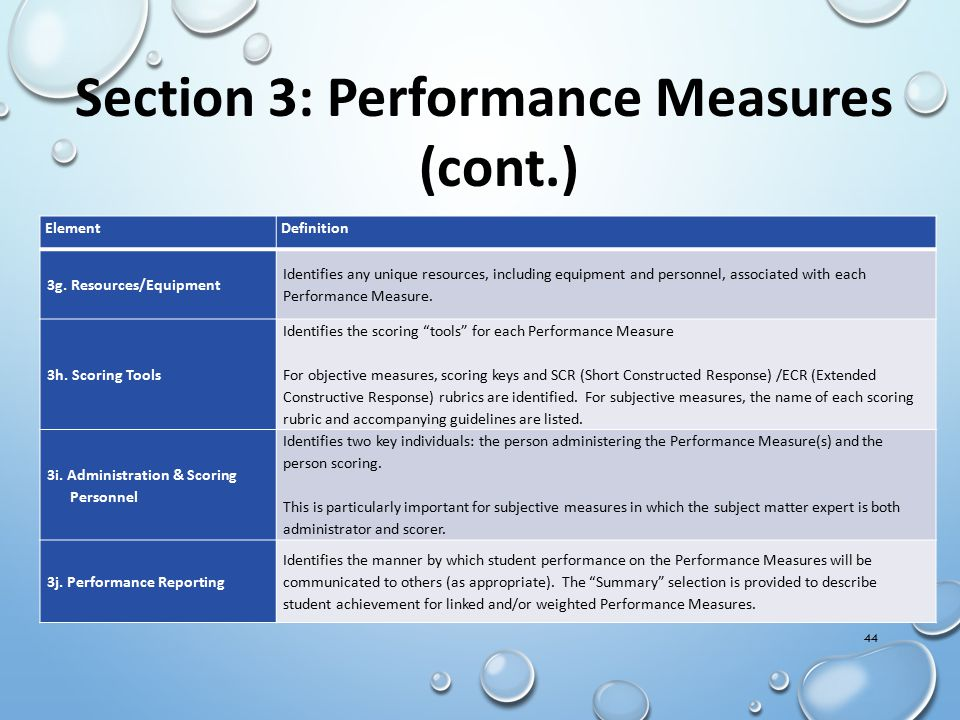 Section 3: Performance Measures (cont.)