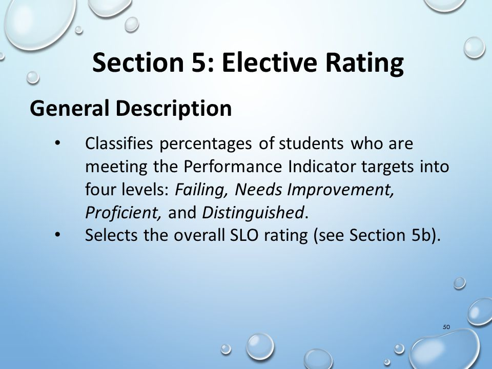 Section 5: Elective Rating