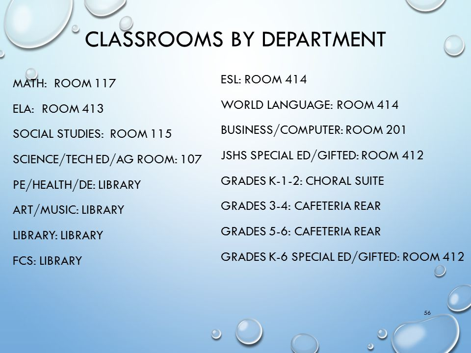Classrooms by department