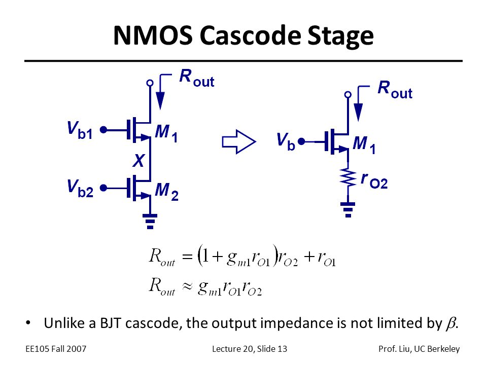 NMOS Cascode Stage Unlike a BJT cascode, the output impedance is not limited by .