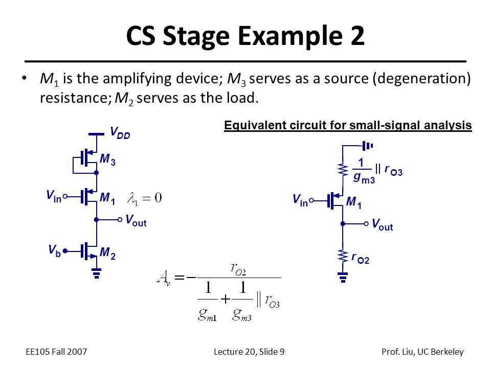 Equivalent circuit for small-signal analysis