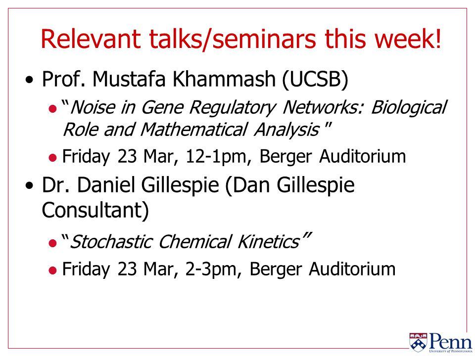 Relevant talks/seminars this week!