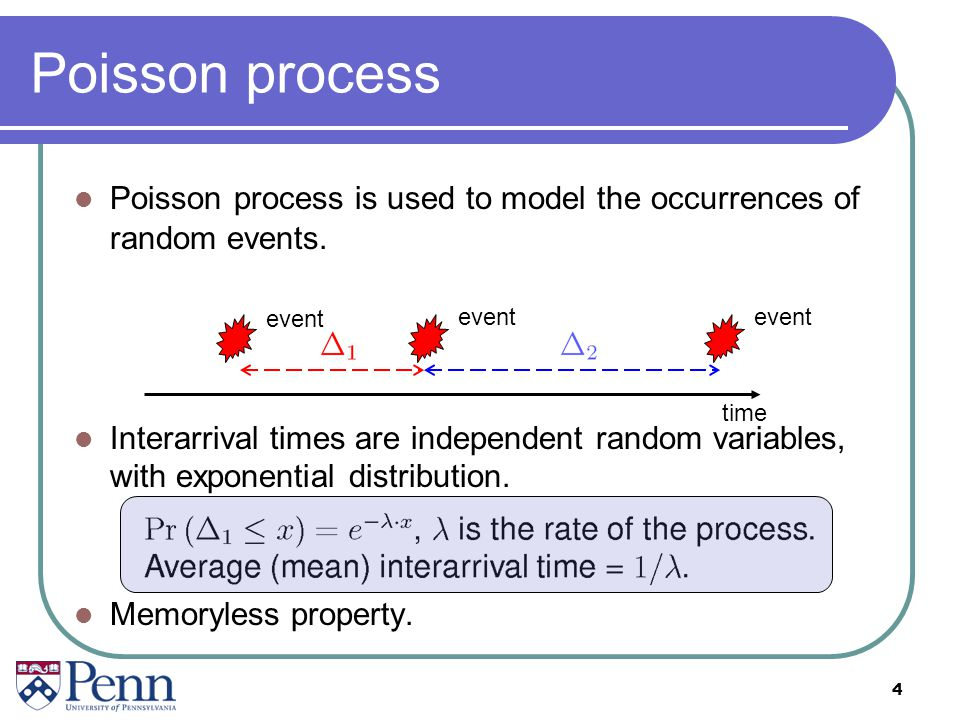 Poisson process Poisson process is used to model the occurrences of random events.