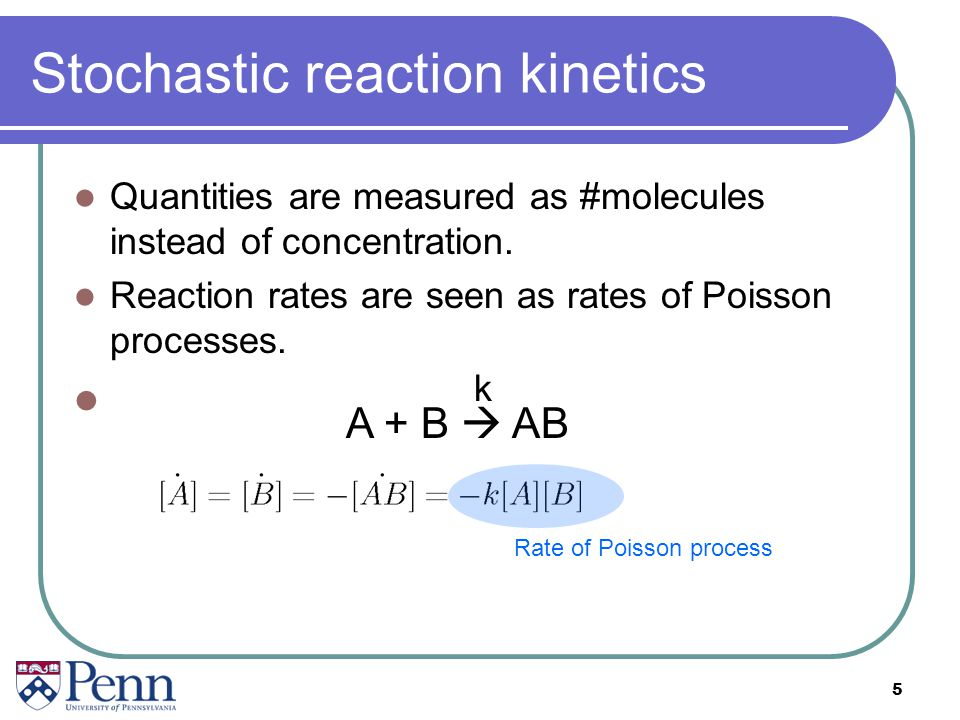 Stochastic reaction kinetics