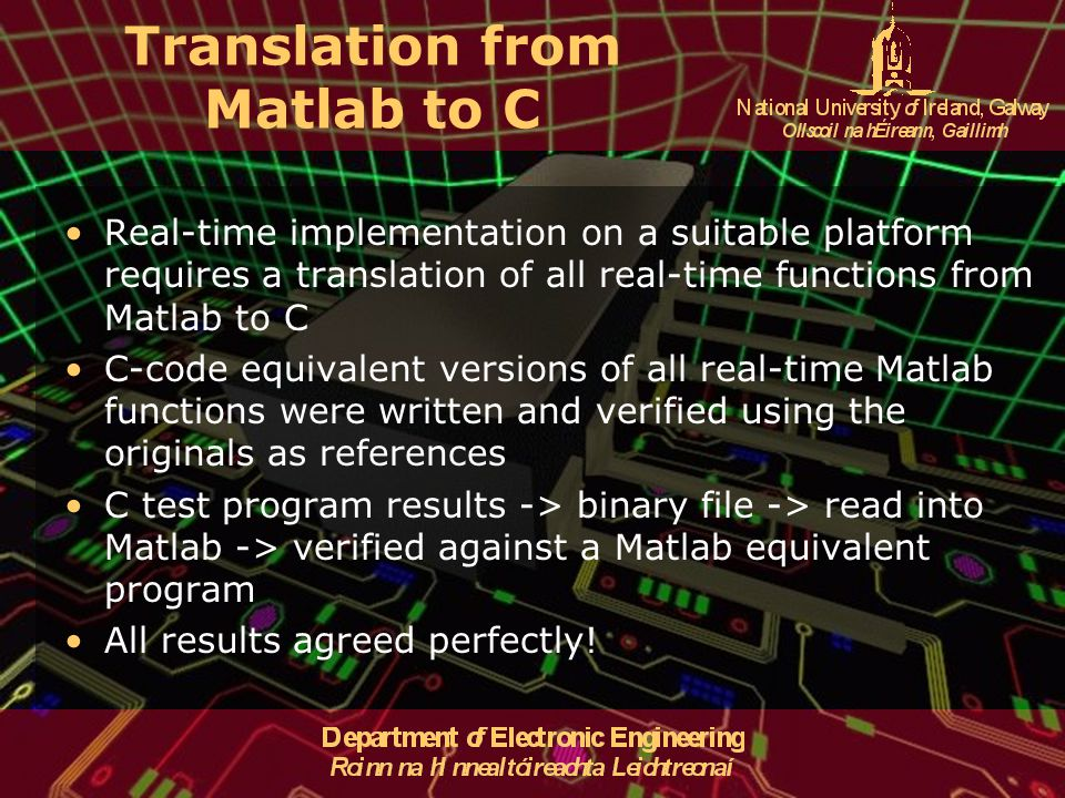 Translation from Matlab to C