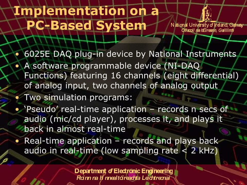 Implementation on a PC-Based System