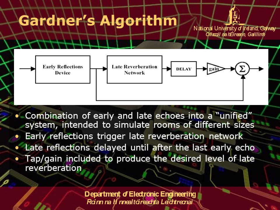 Gardner's Algorithm Combination of early and late echoes into a unified system, intended to simulate rooms of different sizes.