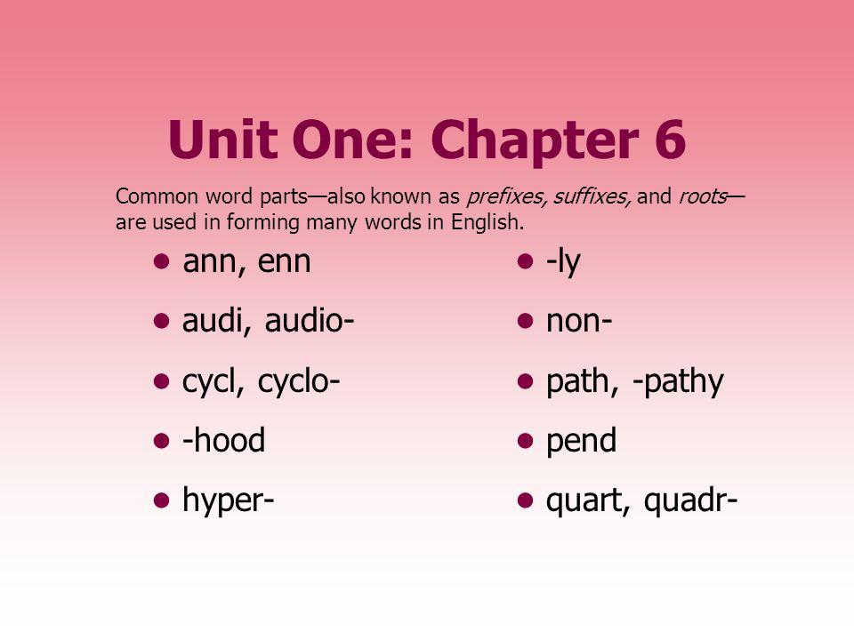Unit One: Chapter 6 • ann, enn • -ly • audi, audio- • non-