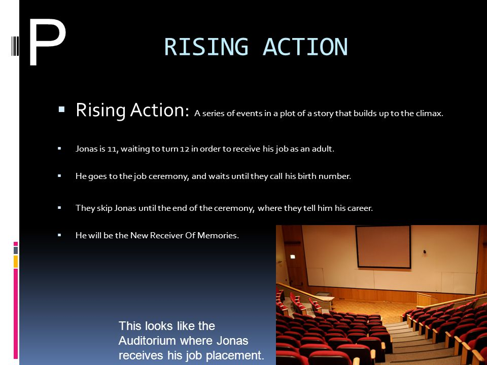 P RISING ACTION. Rising Action: A series of events in a plot of a story that builds up to the climax.