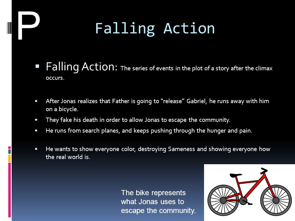 P Falling Action. Falling Action: The series of events in the plot of a story after the climax occurs.