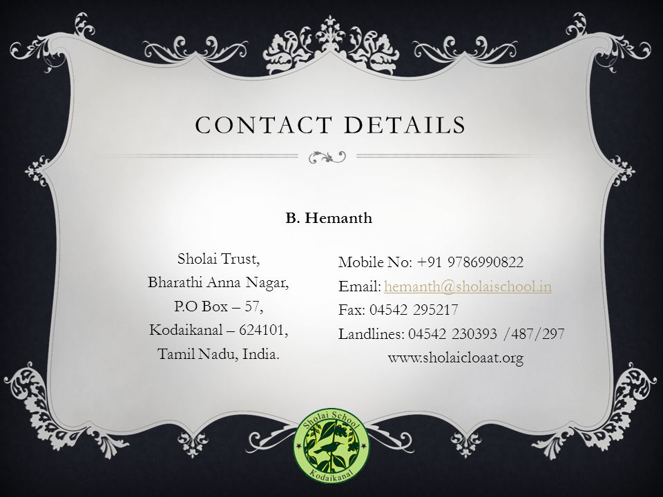 Contact details B. Hemanth