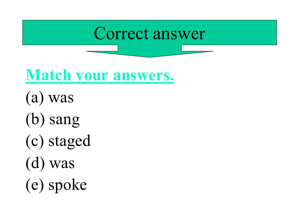 Correct answer Match your answers. (a) was (b) sang (c) staged (d) was
