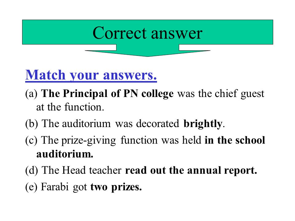 Correct answer Match your answers.