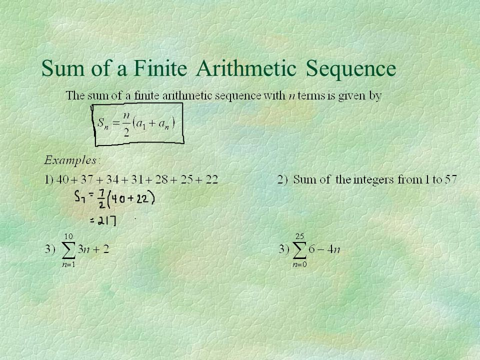 Sum of a Finite Arithmetic Sequence