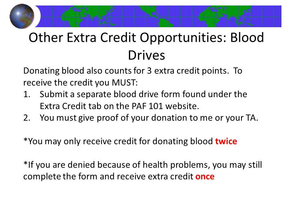 Other Extra Credit Opportunities: Blood Drives