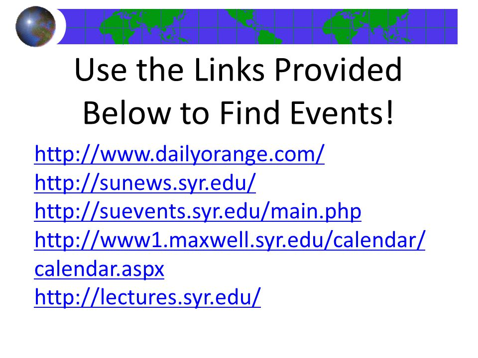 Use the Links Provided Below to Find Events!