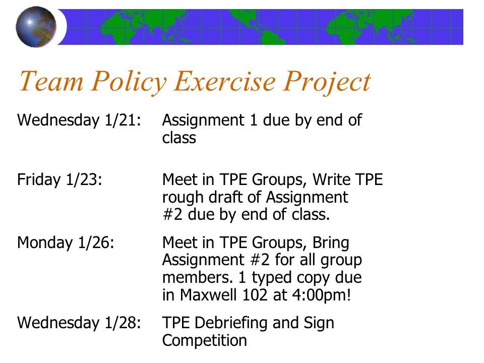 Team Policy Exercise Project