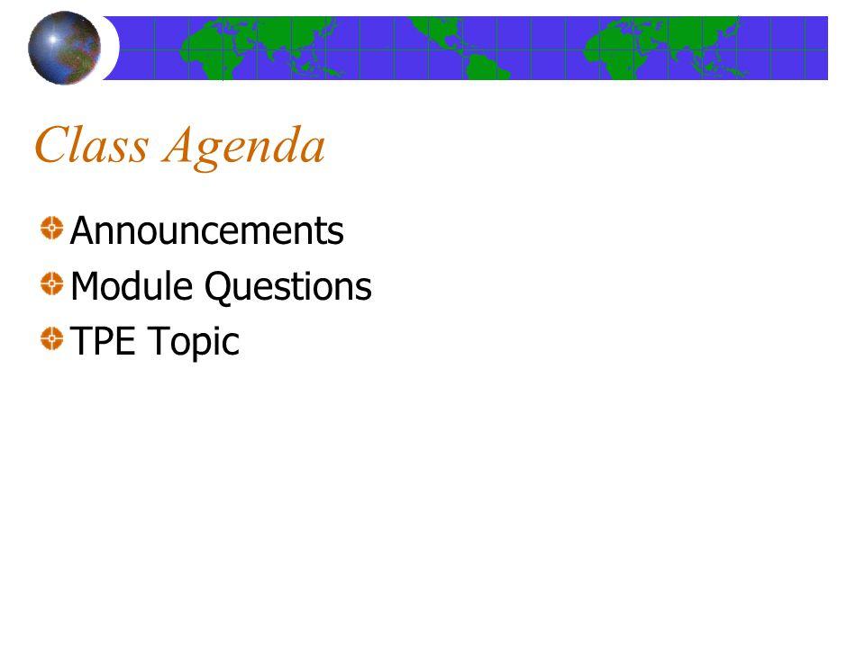 Class Agenda Announcements Module Questions TPE Topic