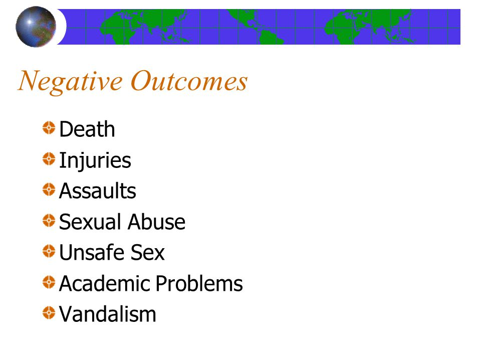 Negative Outcomes Death Injuries Assaults Sexual Abuse Unsafe Sex