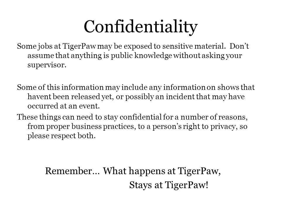 TigerPaw Productions Employee Rules