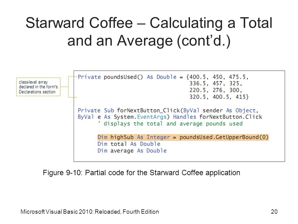 Starward Coffee – Calculating a Total and an Average (cont'd.)