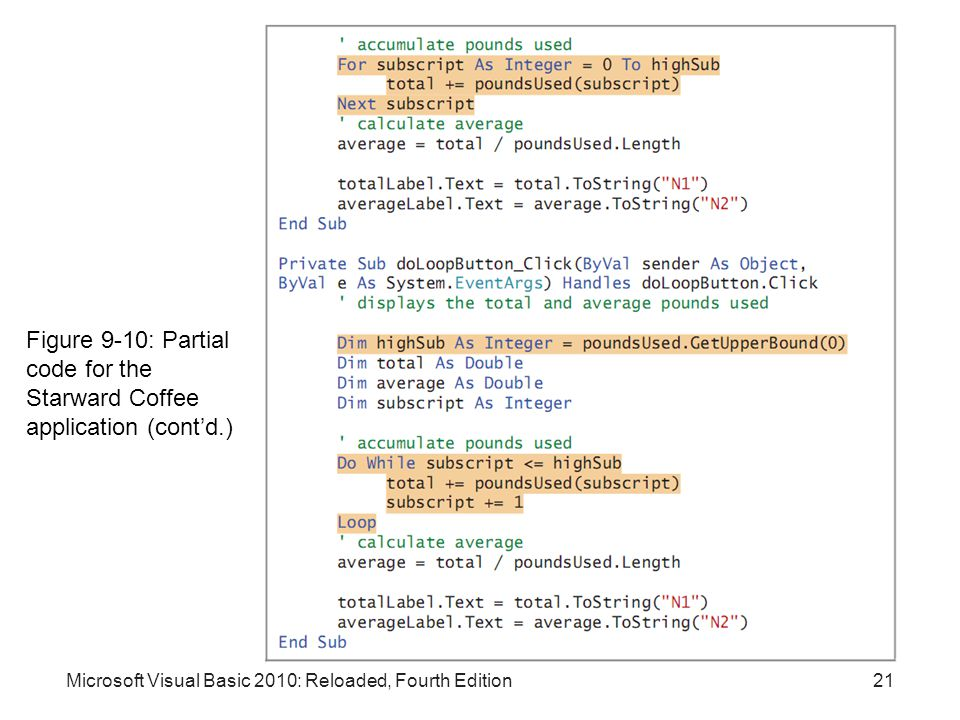 Figure 9-10: Partial code for the Starward Coffee application (cont'd