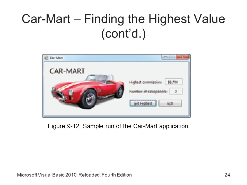 Car-Mart – Finding the Highest Value (cont'd.)