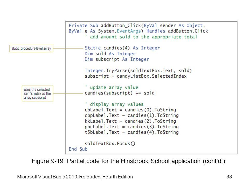 Figure 9-19: Partial code for the Hinsbrook School application (cont'd