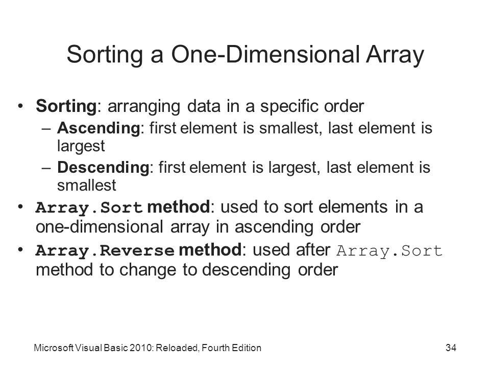 Sorting a One-Dimensional Array