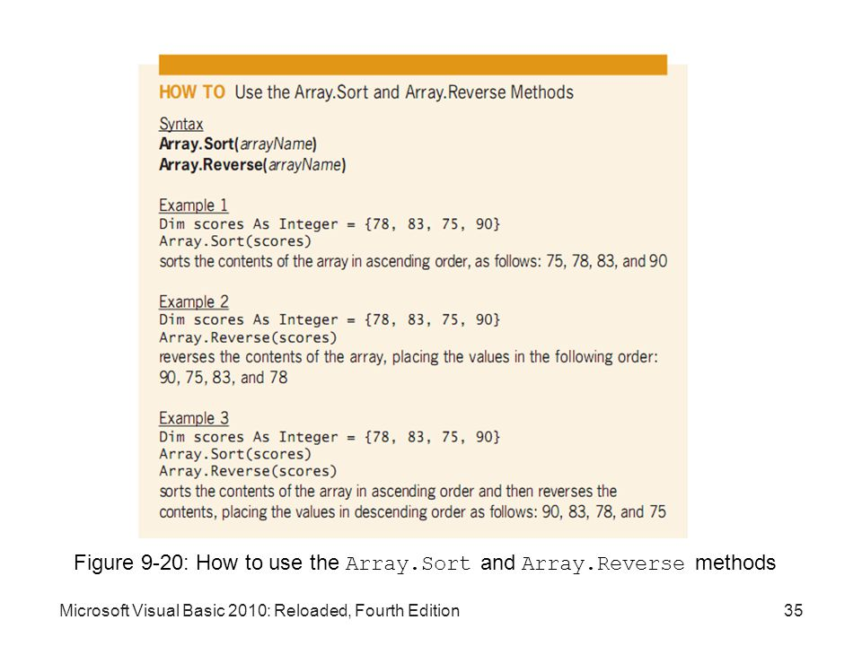 Figure 9-20: How to use the Array.Sort and Array.Reverse methods
