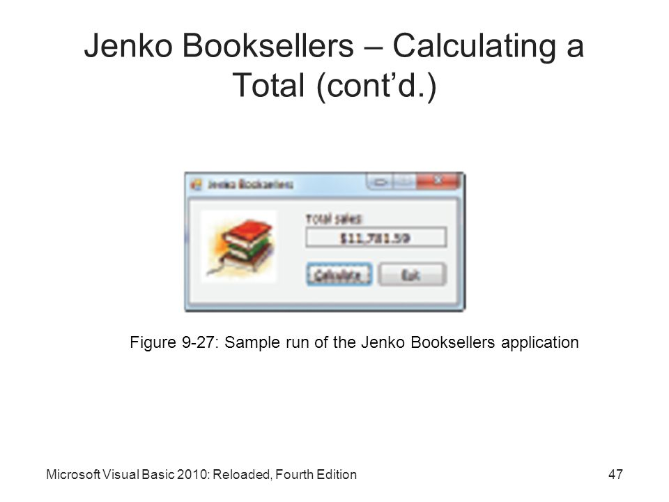 Jenko Booksellers – Calculating a Total (cont'd.)