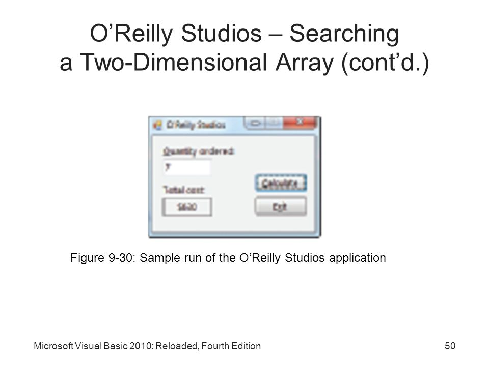 O'Reilly Studios – Searching a Two-Dimensional Array (cont'd.)