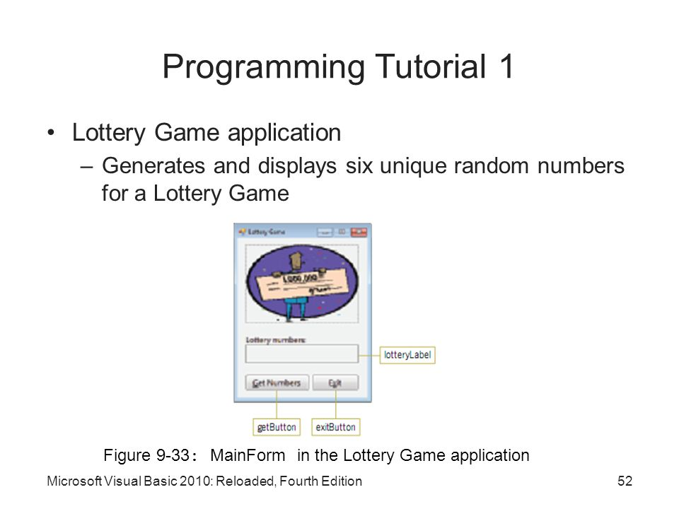 Programming Tutorial 1 Lottery Game application
