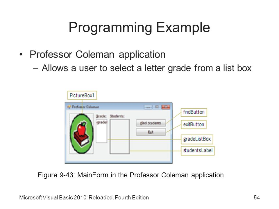 Programming Example Professor Coleman application