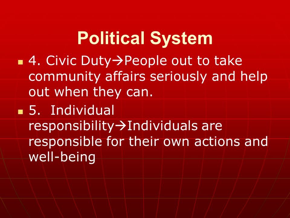 Political System 4. Civic DutyPeople out to take community affairs seriously and help out when they can.