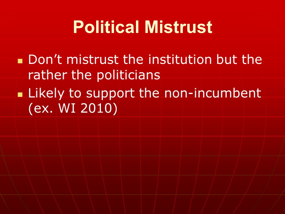 Political Mistrust Don't mistrust the institution but the rather the politicians.