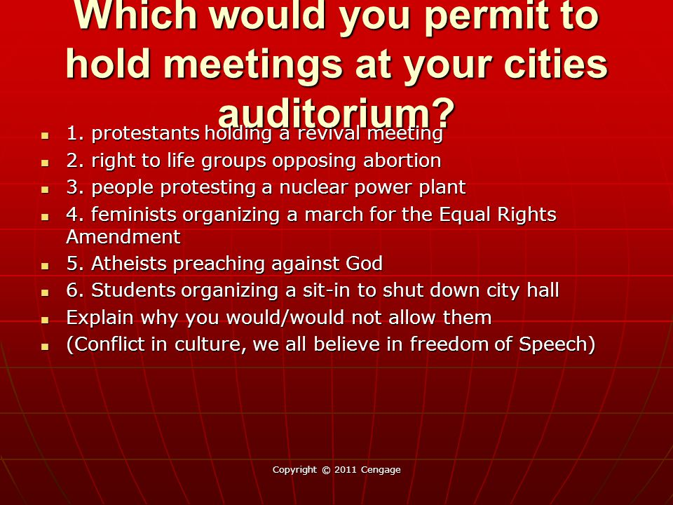 Which would you permit to hold meetings at your cities auditorium