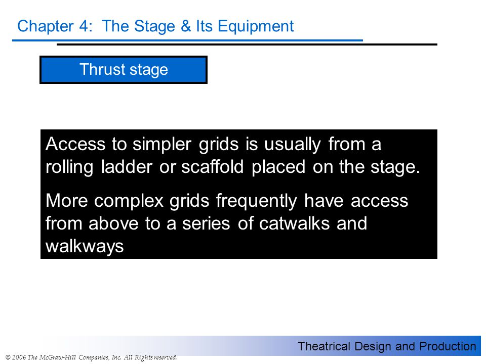 Thrust stage Access to simpler grids is usually from a rolling ladder or scaffold placed on the stage.