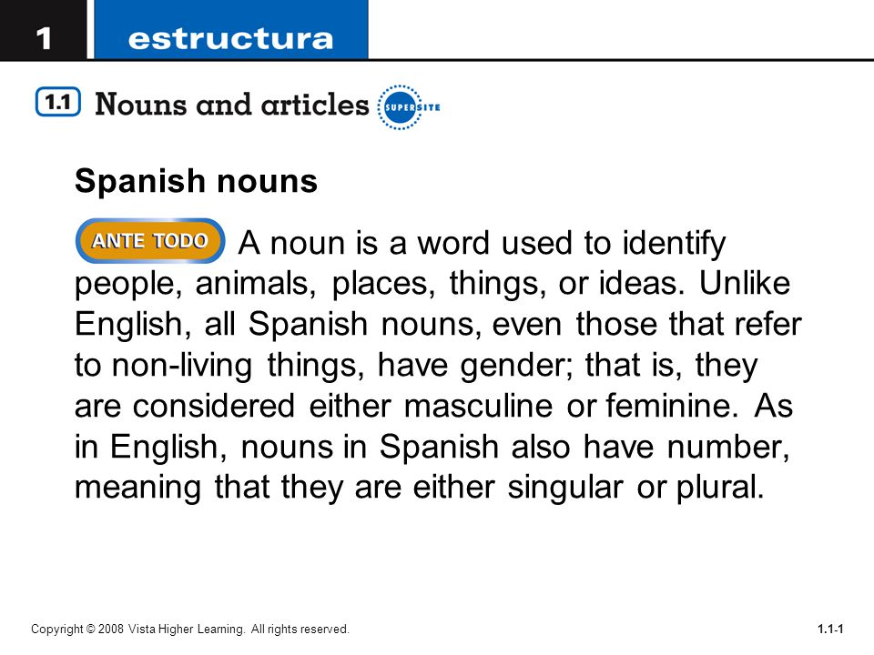 Spanish nouns