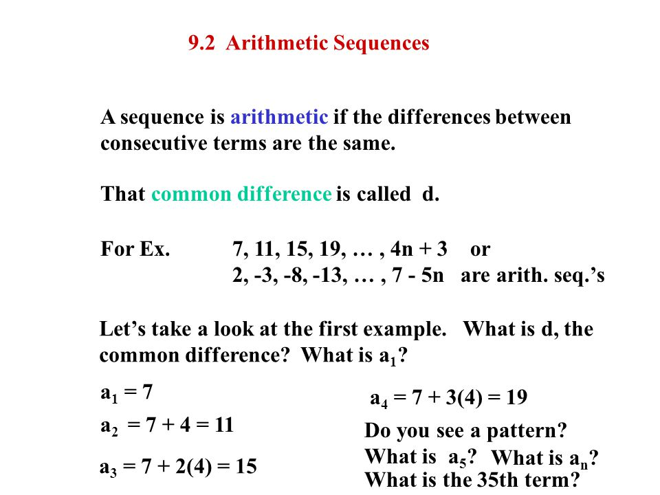 9.2 Arithmetic Sequences A sequence is arithmetic if the differences between. consecutive terms are the same.