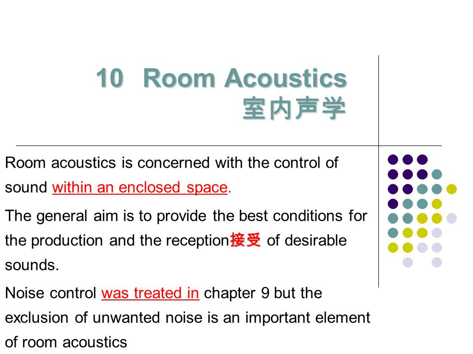 Room Acoustics 室内声学 Room acoustics is concerned with the control of sound within an enclosed space.