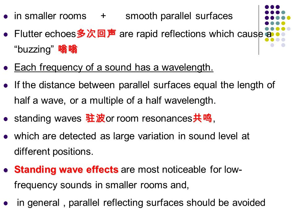 in smaller rooms + smooth parallel surfaces