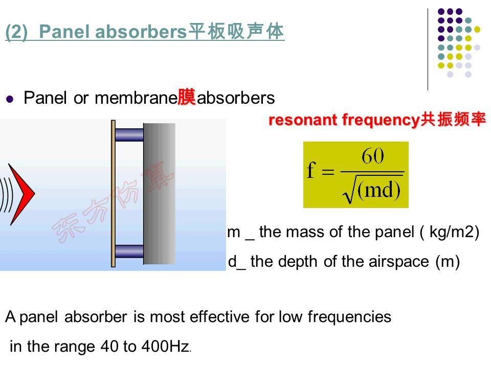 (2) Panel absorbers平板吸声体