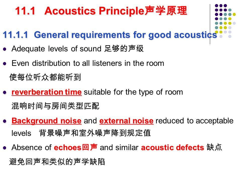11.1 Acoustics Principle声学原理