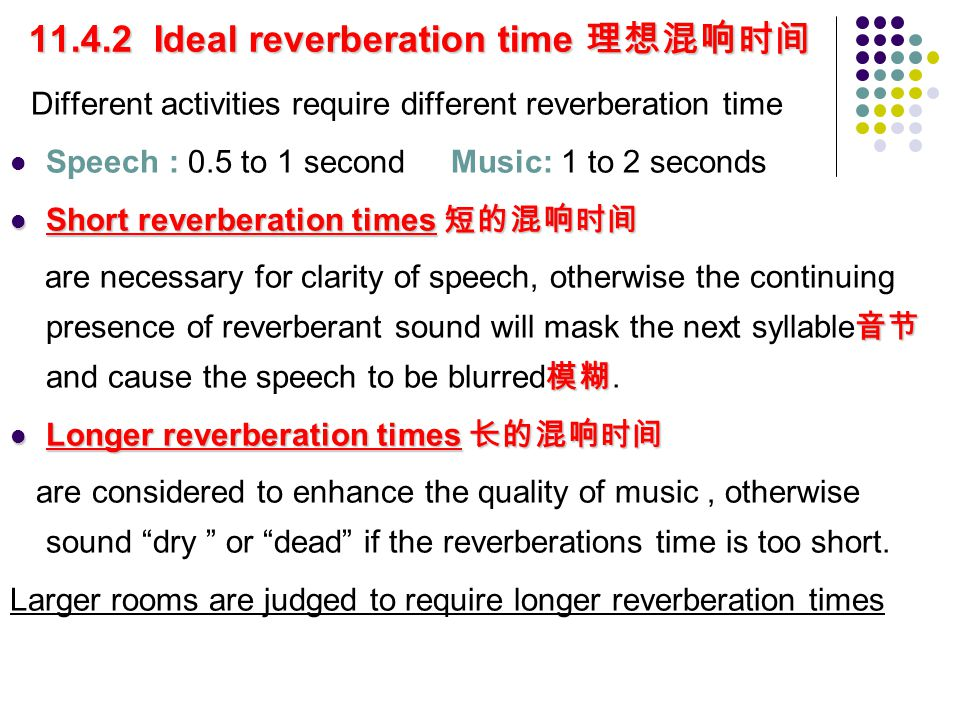 11.4.2 Ideal reverberation time 理想混响时间