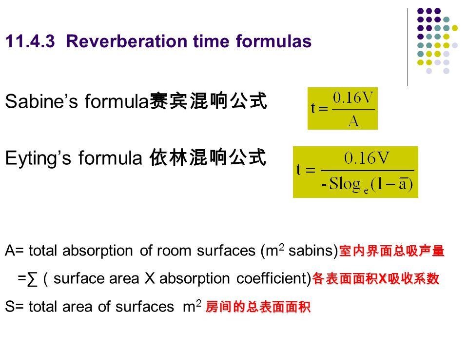 11.4.3 Reverberation time formulas
